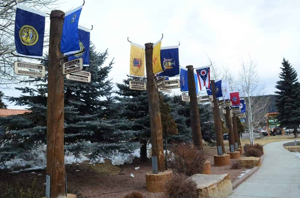 """These are what they call the """"Avenue of Flags"""", representing each state. Set in the middle of Lions Park is the 9/11 Memorial."""
