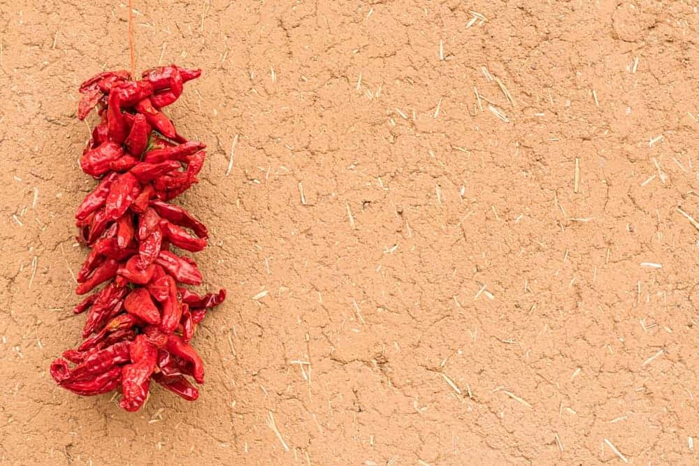 Dried peppers in a beige wall.