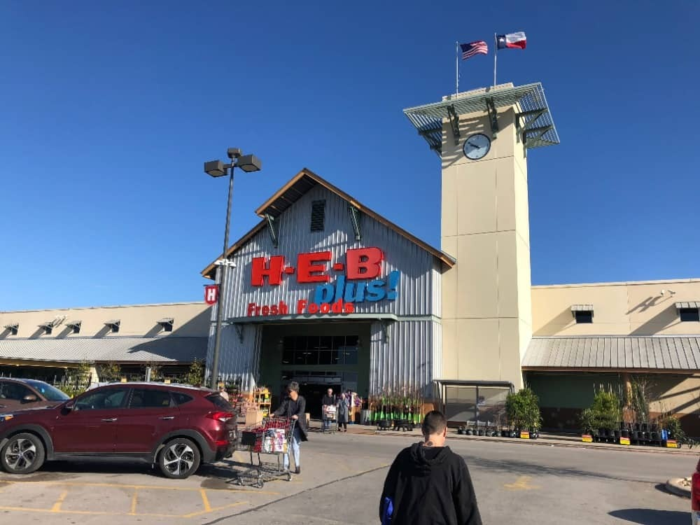H.E.B is a popular grocery store, which can also be found in Bastrop.