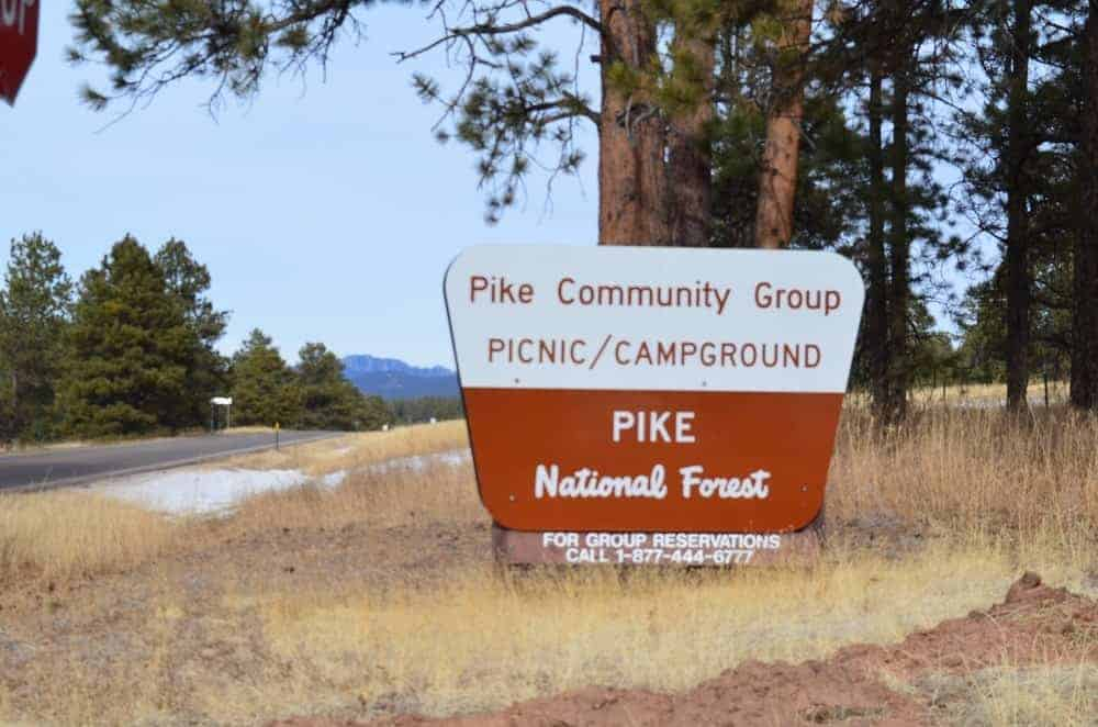 A signboard for the picnic and camping grounds.