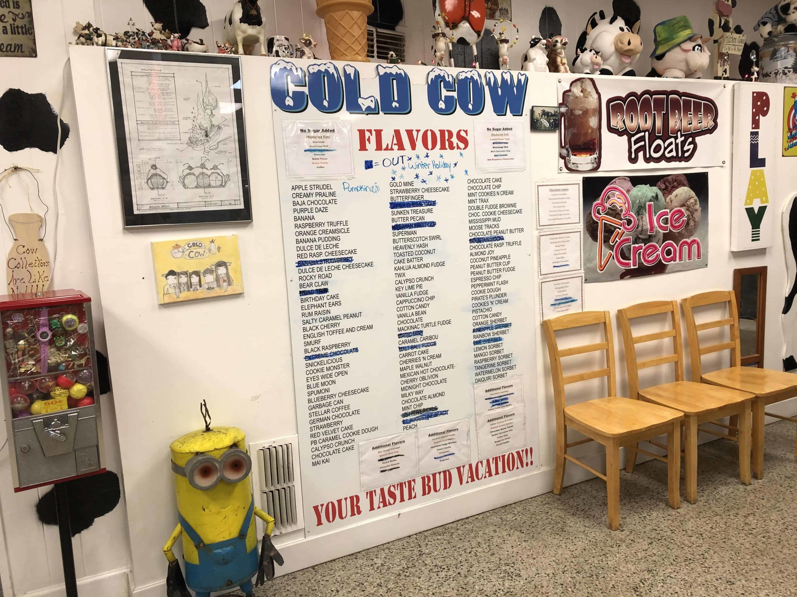 A menu of Cold Cow in St. Augustine, FL.
