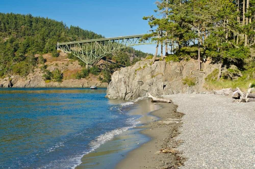 A view of Decption Pass Bridge from the North Beach.