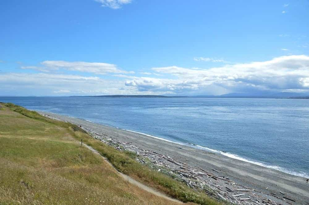A view of the beach in Fort Ebey State Park.