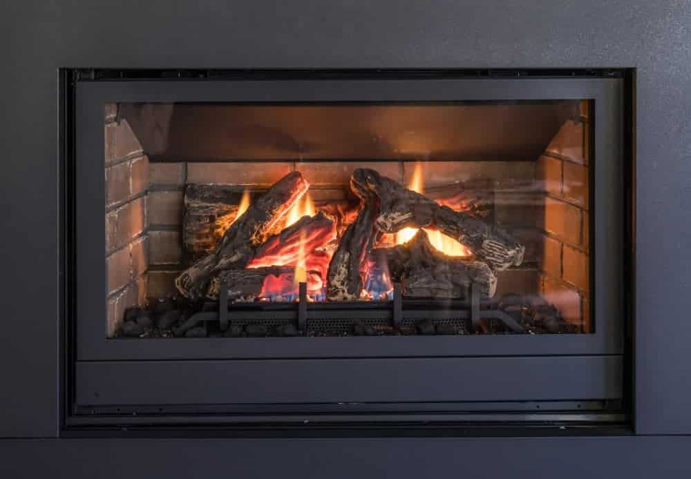 A close look at a gas fireplace in Blue Goose Inn.