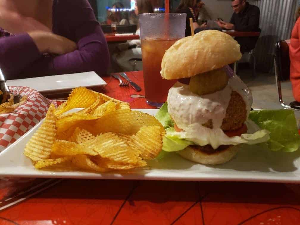 Jalapeno Popper Burger served with homemade potato chips at Gass Full Service Cafe.