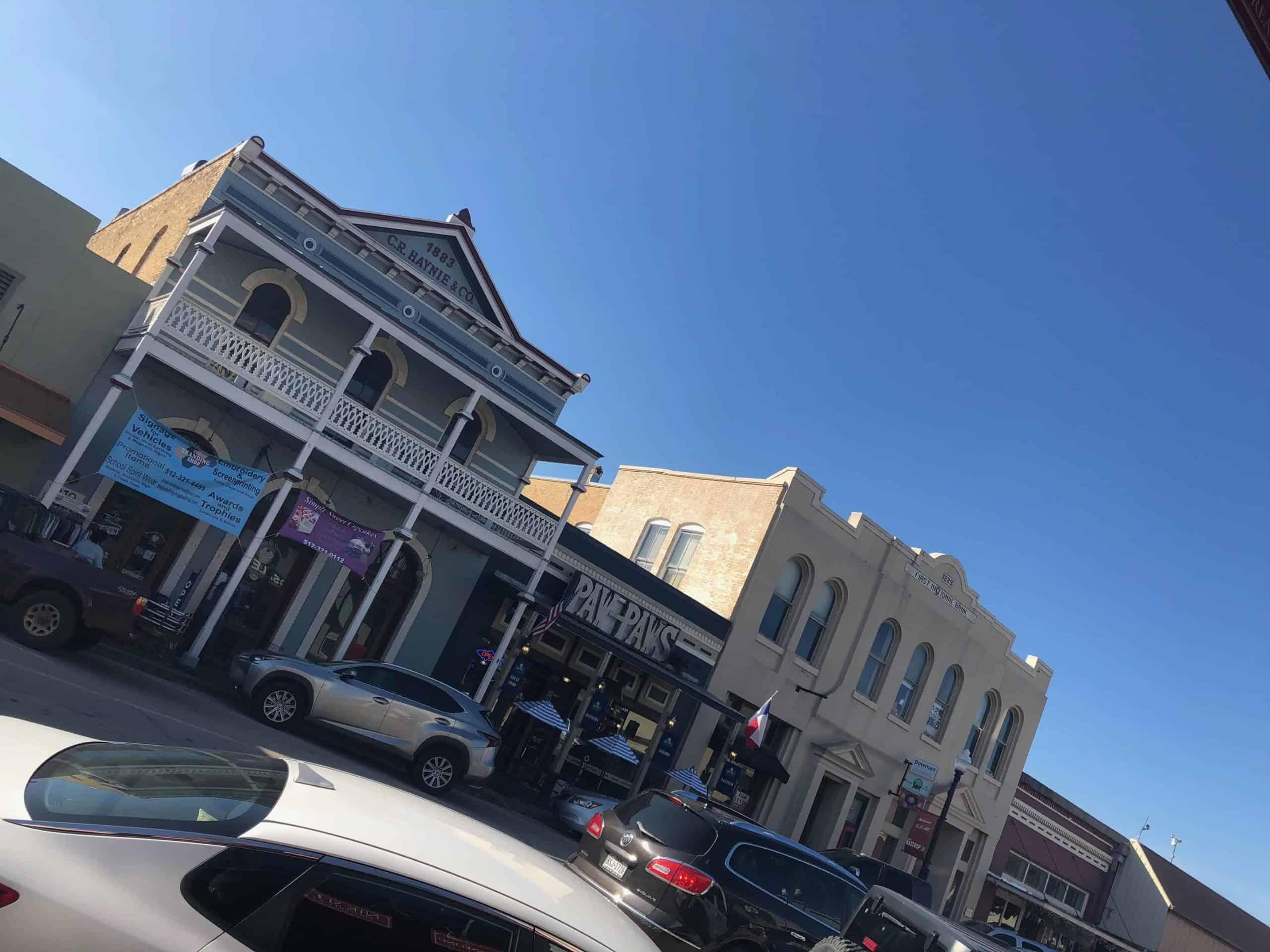 The historic Main Street at Bastrop County.