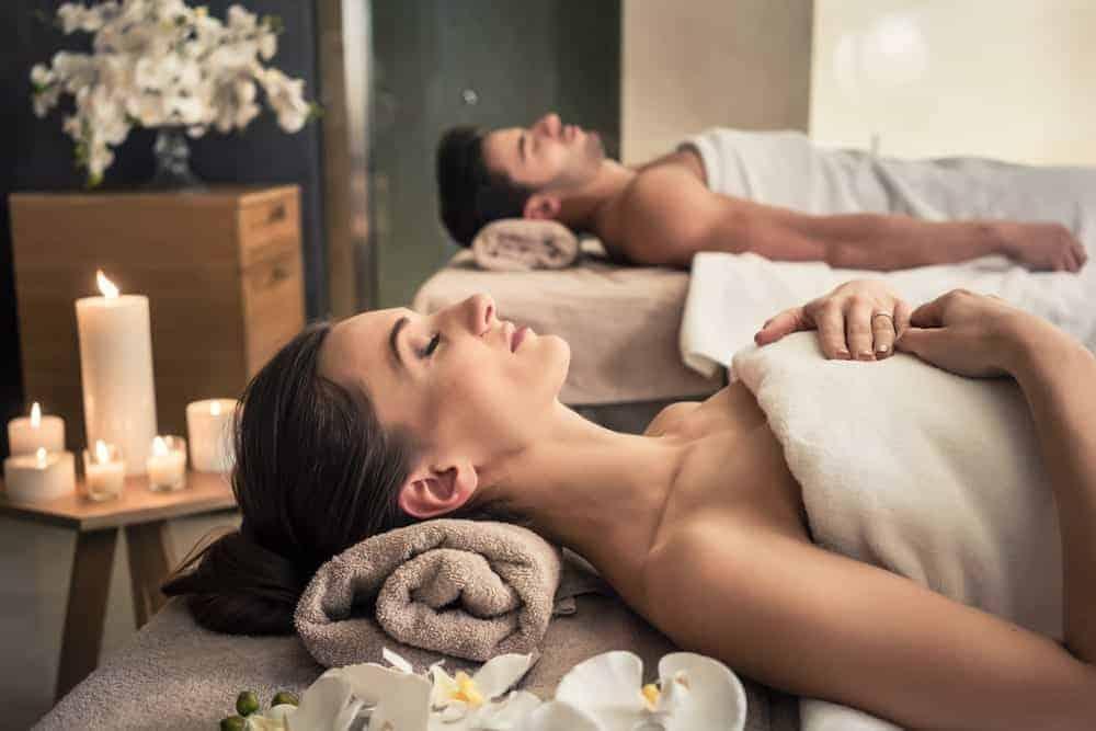 A couple enjoys a spa at the Hyatt Regency Lost Pines Resort & Spa.