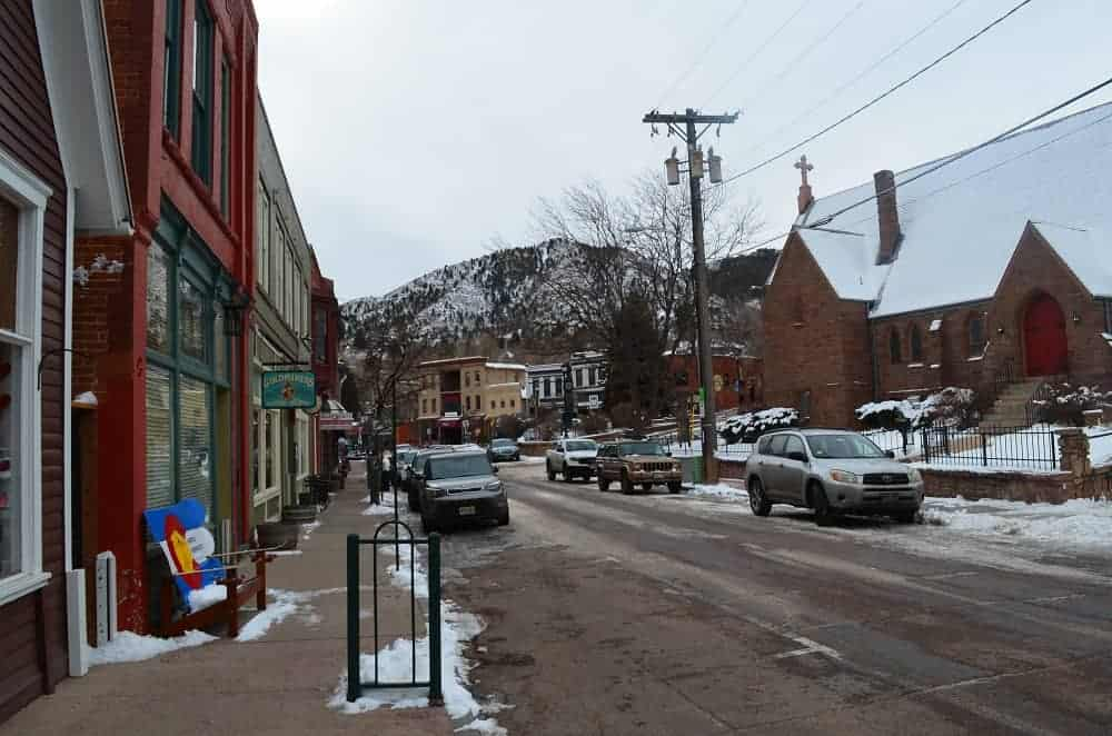 The shops and church on Canon Ave.