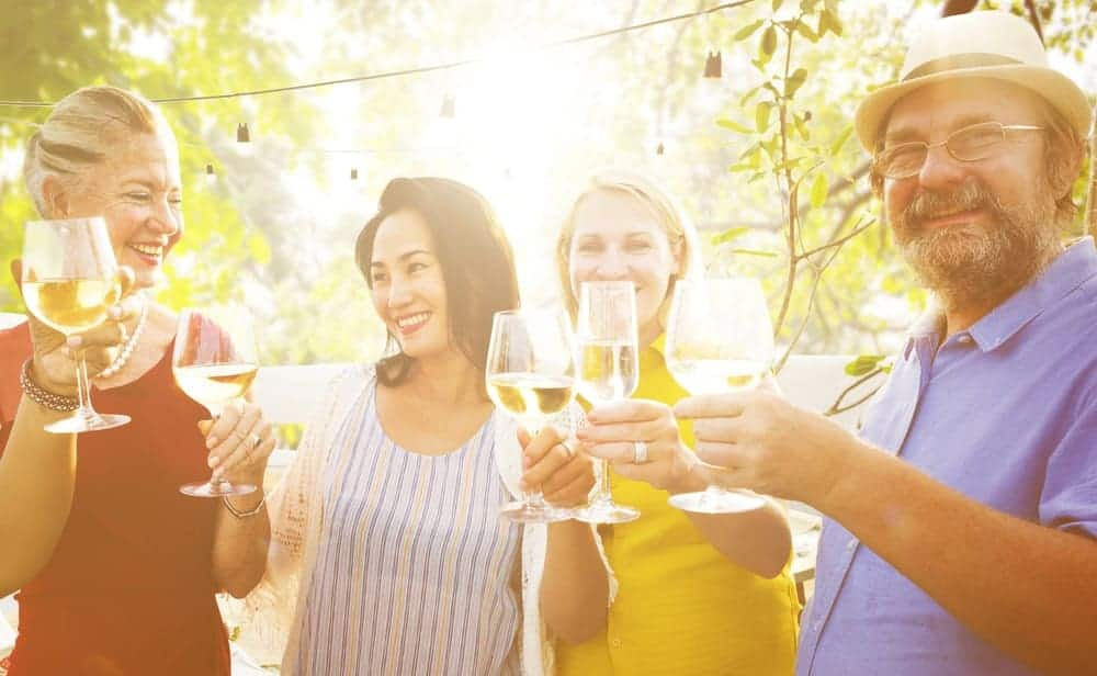 People toasting their wine glasses outdoor.