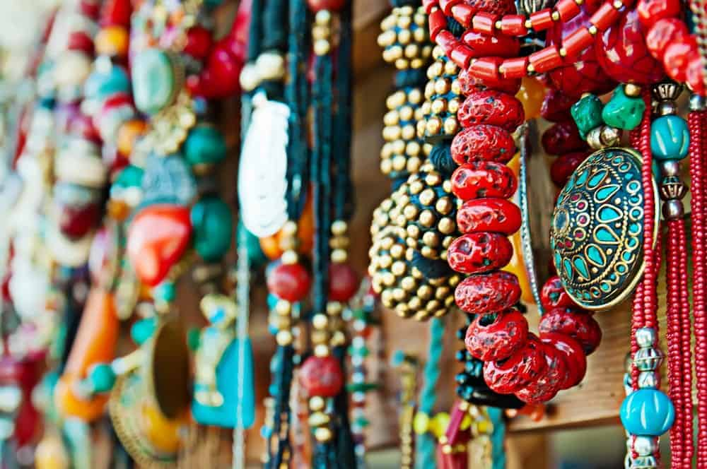 Colorful bracelets and necklaces on display at the Mountain Arts Festival.