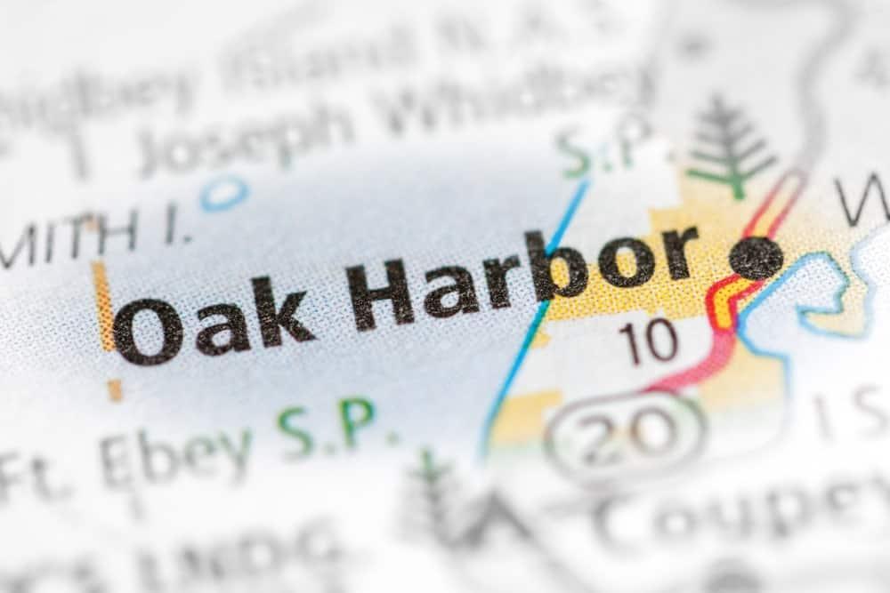 A close look at a map depicting Oak Harbor.