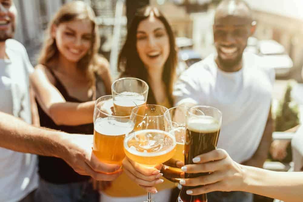 A group of friends enjoying Oktoberfest.