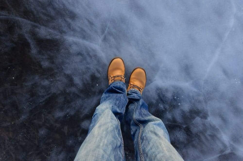 A close look at a frozen lake.