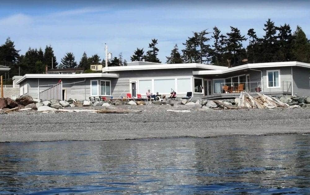 A waterfront view of the Ranvik Beach House in Whidbey Island.