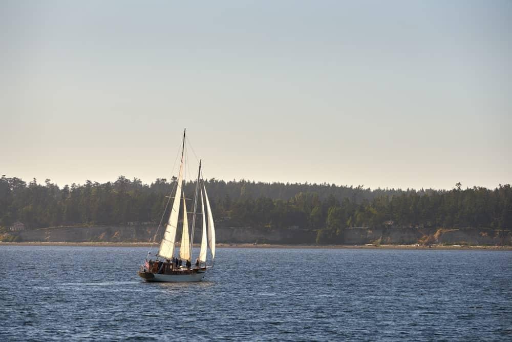 A schooner leaving Oak Harbor.