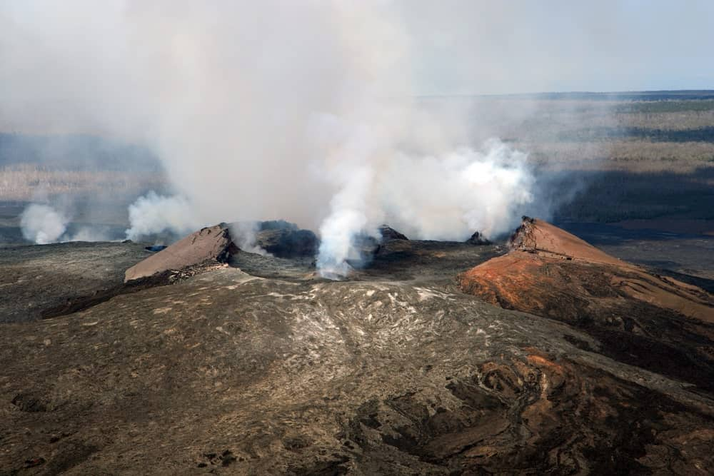 An aerial view of the Kilauea volcano.