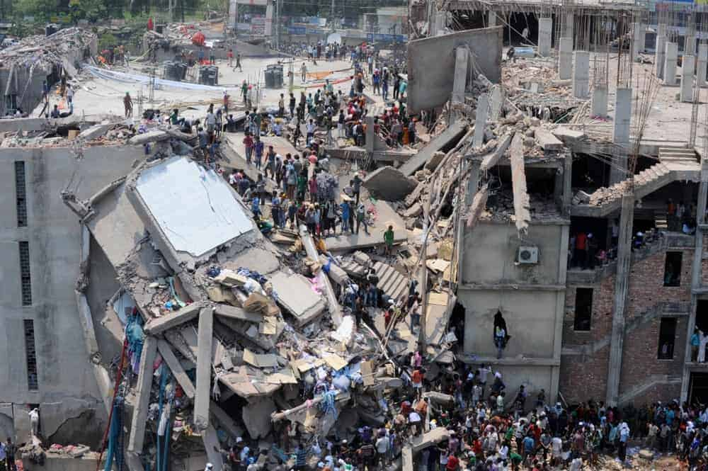 Top view of the Raza Plaza building collapse.