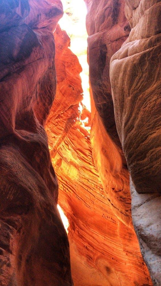 A view inside Slot Canyon in Bluejohn Canyon, Utah.