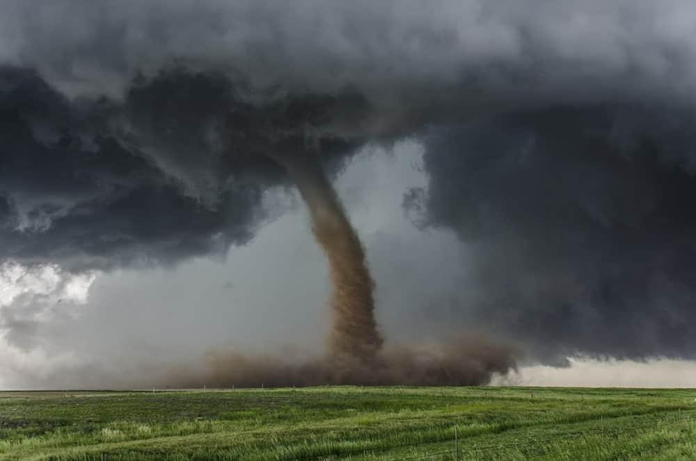 Twister tornado crossing the field.