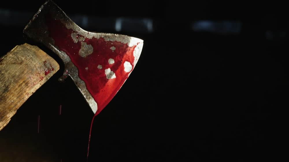 A bloody hatchet against a black background.