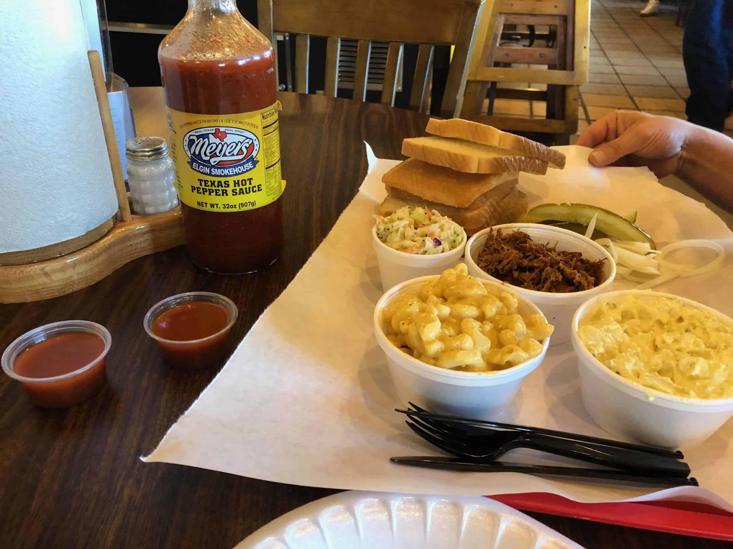 Dining at Meyer's Elgin BBQ.