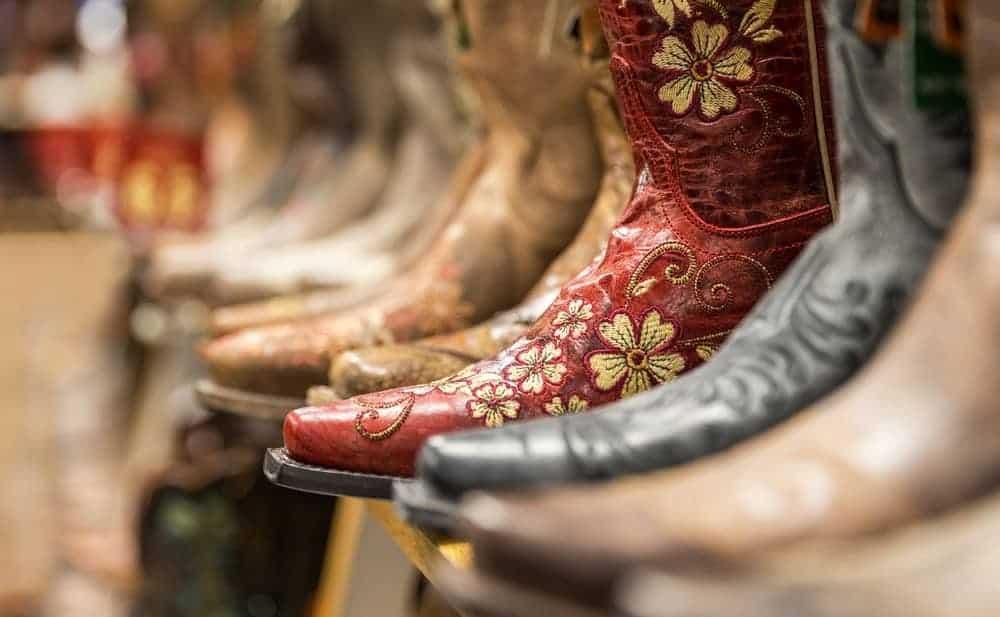 Side profile of stylish cowboy boots.