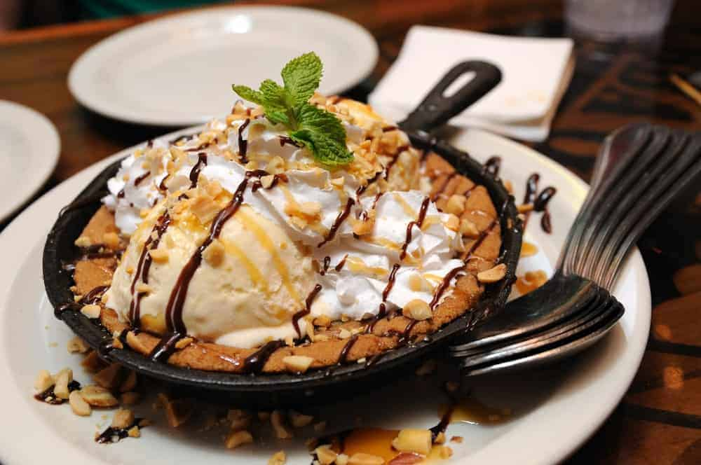 A closer view at a chocolate-chip cookie sundae dessert that St. Augustine's The Press serves to their guests.