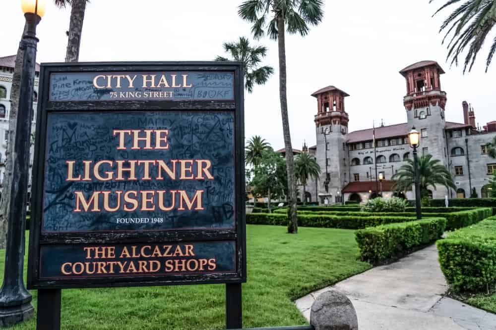 The Lightner Museum is one of Henry Flagler's creations, and is still displaying the 19th century art collection of Otto C. Lightner himself. Check out the property's garden area with walkways. The sign can be seen in the photo very well.
