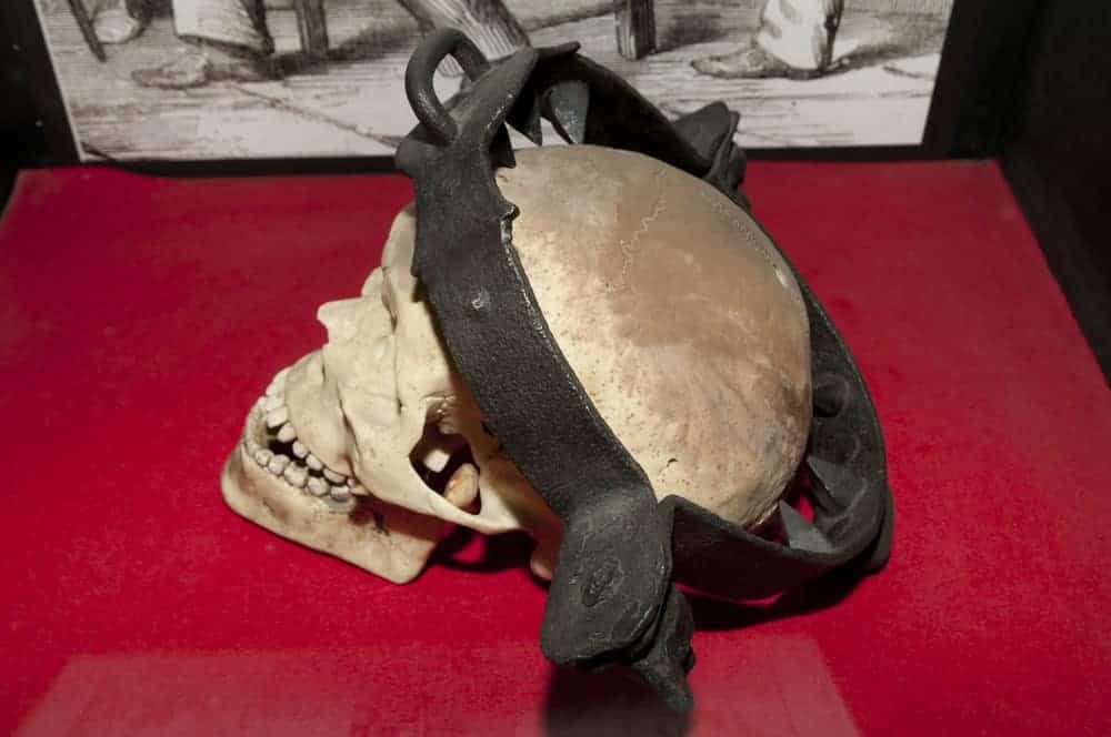An image of a skull press torture device used in the 16th century. This can be found in St. Augustine's Medieval Torture Museum, the first museum in the whole United States to focus on torture subject.