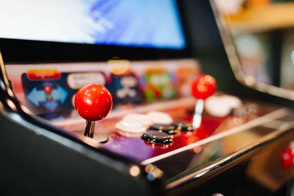 Closeup of an arcade machine in Blue Fox Dine-in Theater.