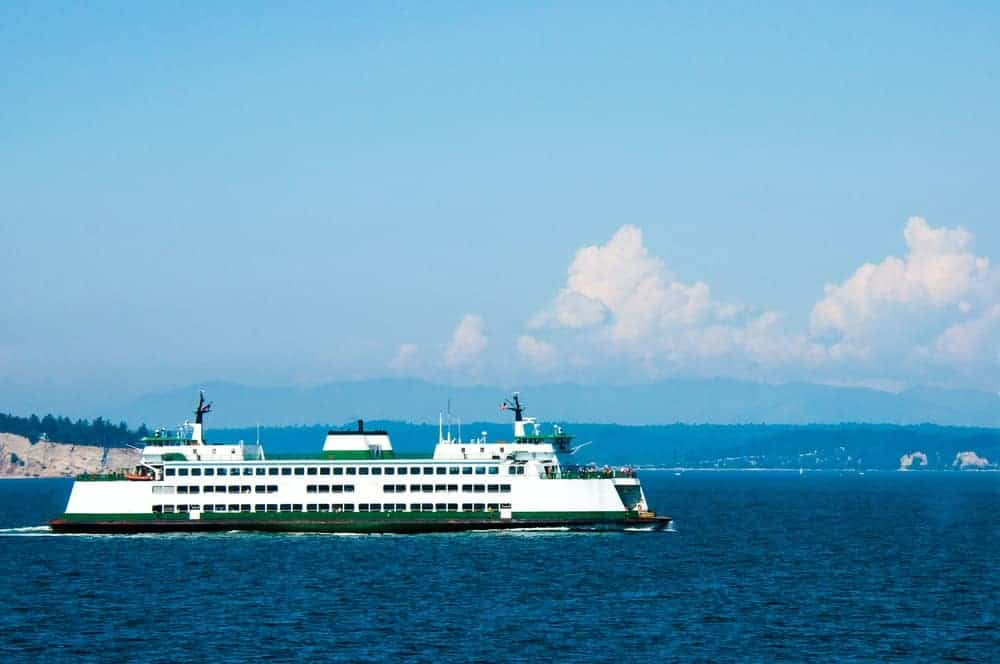 A look at the large ferry in Whidbey Island.