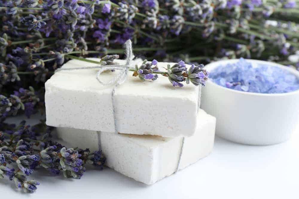 Handmade lavender soap on display in the Lavender Wind Shop.