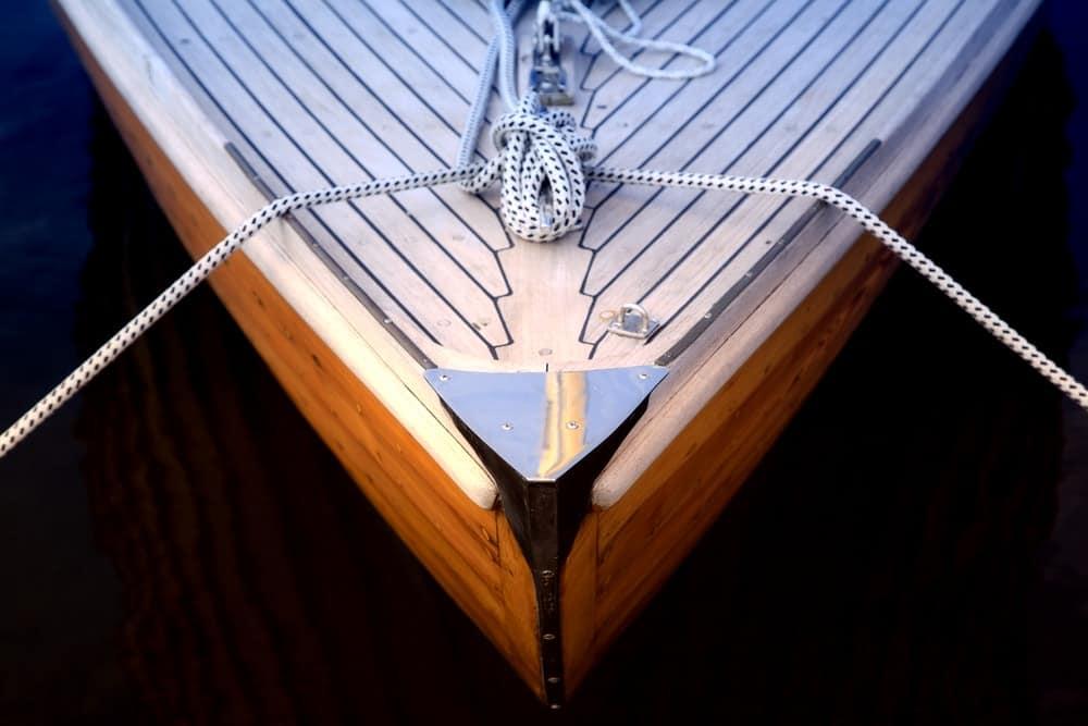 Bow of a sailboat in Oak Harbor Marina.