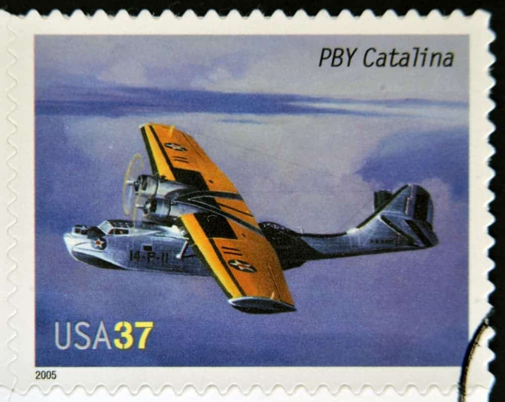 USA stamp showing Consolidated PBY Catalina, circa 2005.