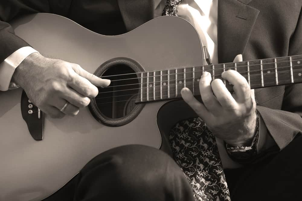 A guitarist performing at the Whidbey Island Center for the Arts.
