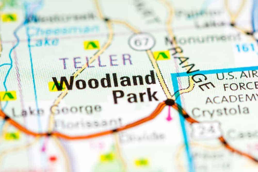 A close look at a map of Woodland Park, Colorado.