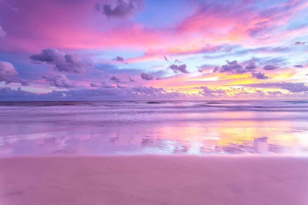 A lovely purple sand beach.