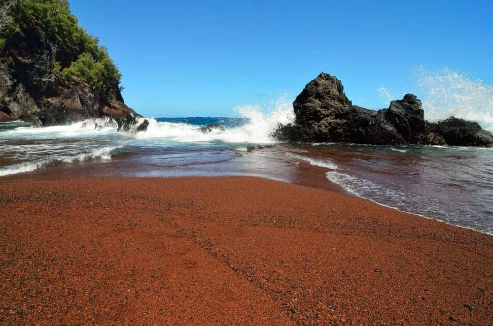 A view of the Kaihalulu Red Sand Beach.