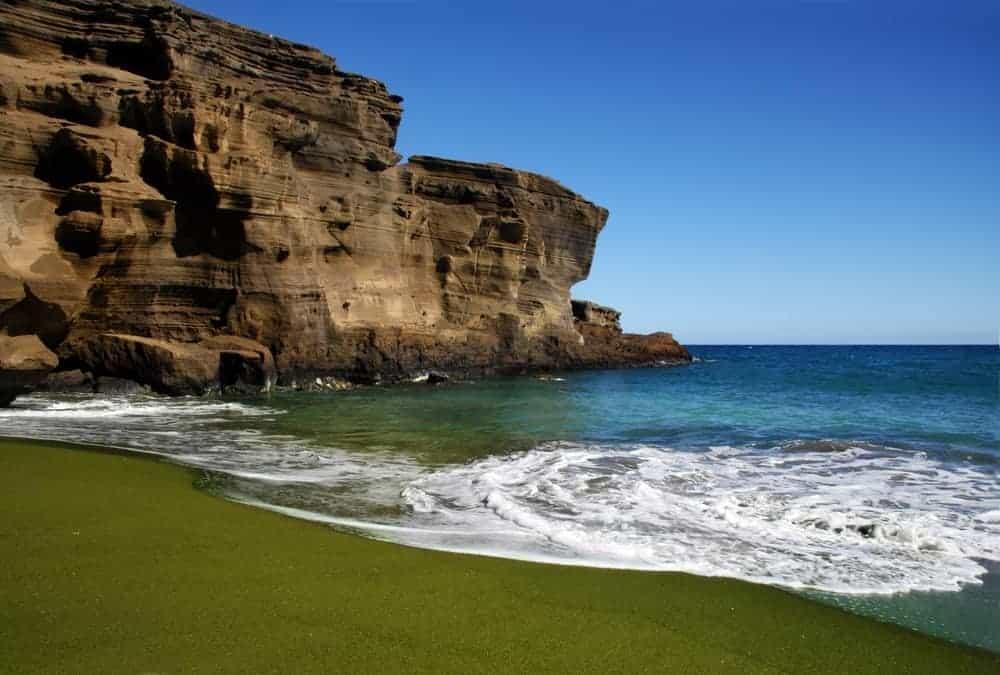 A beautiful green sand beach.