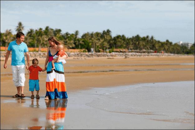 Family of Four on a Beach.