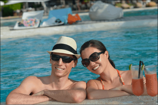 Happy Couple in a Pool.