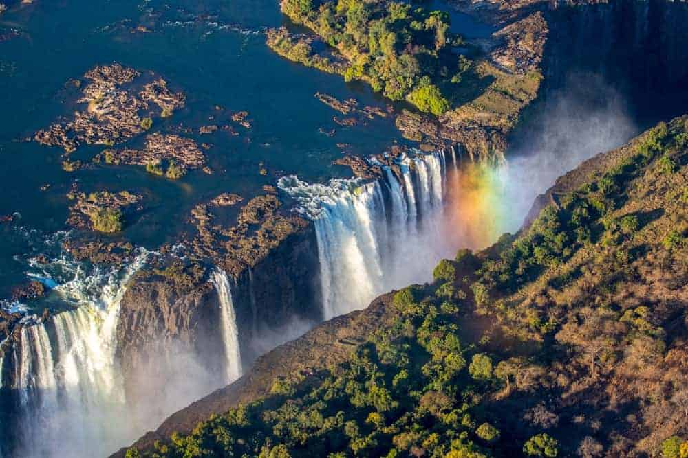 An aerial view of the massive Victoria Falls.