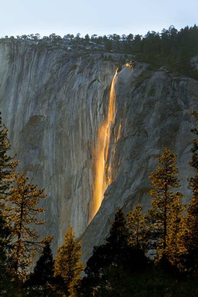 A view of the Horsetail falls in Yosemite.