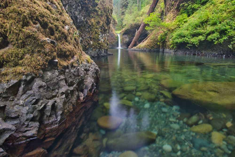 A view of the Punchbowl falls in Oregon.
