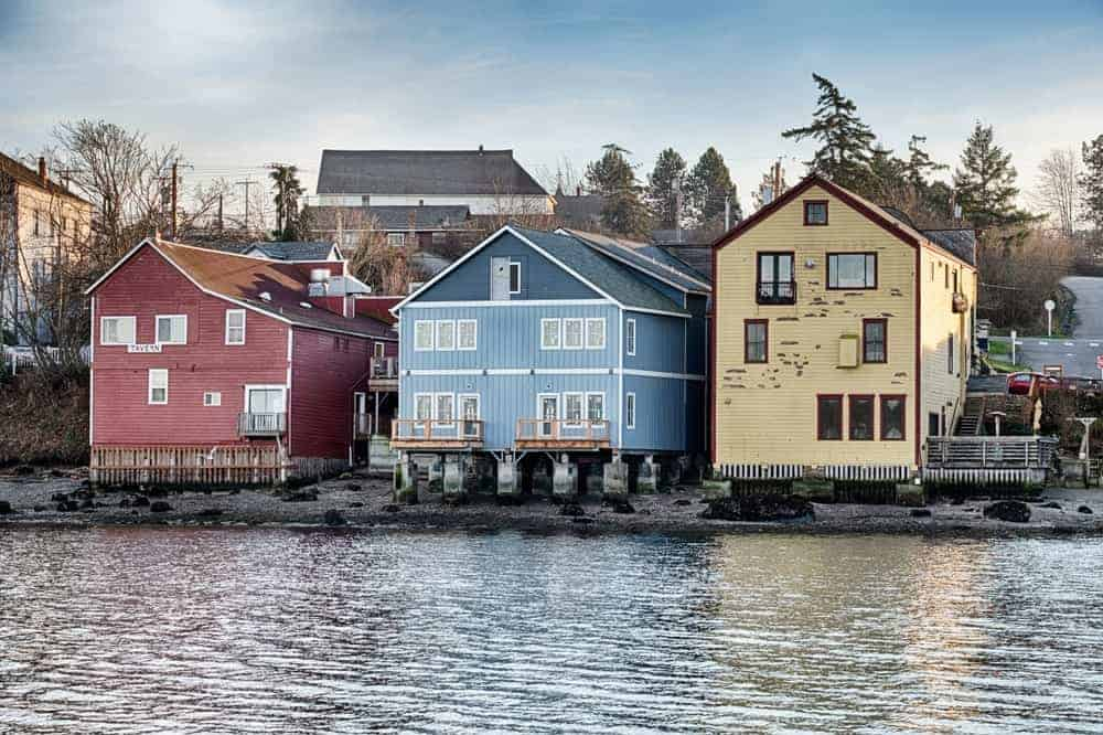 A view of the colorful waterfront buildings of Whidbey Island.
