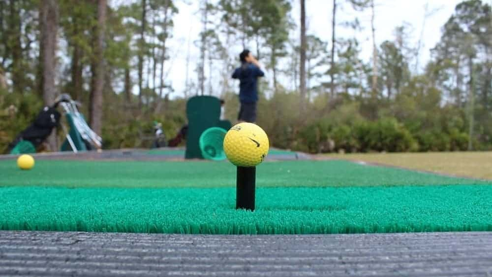 A closer look at Nike's yellow golf ball set to be sent downrange.