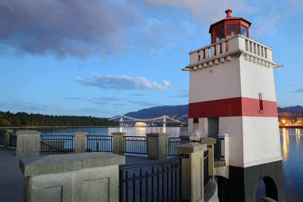 Brockton Point Lighthouse along the Stanley Park Seawall.