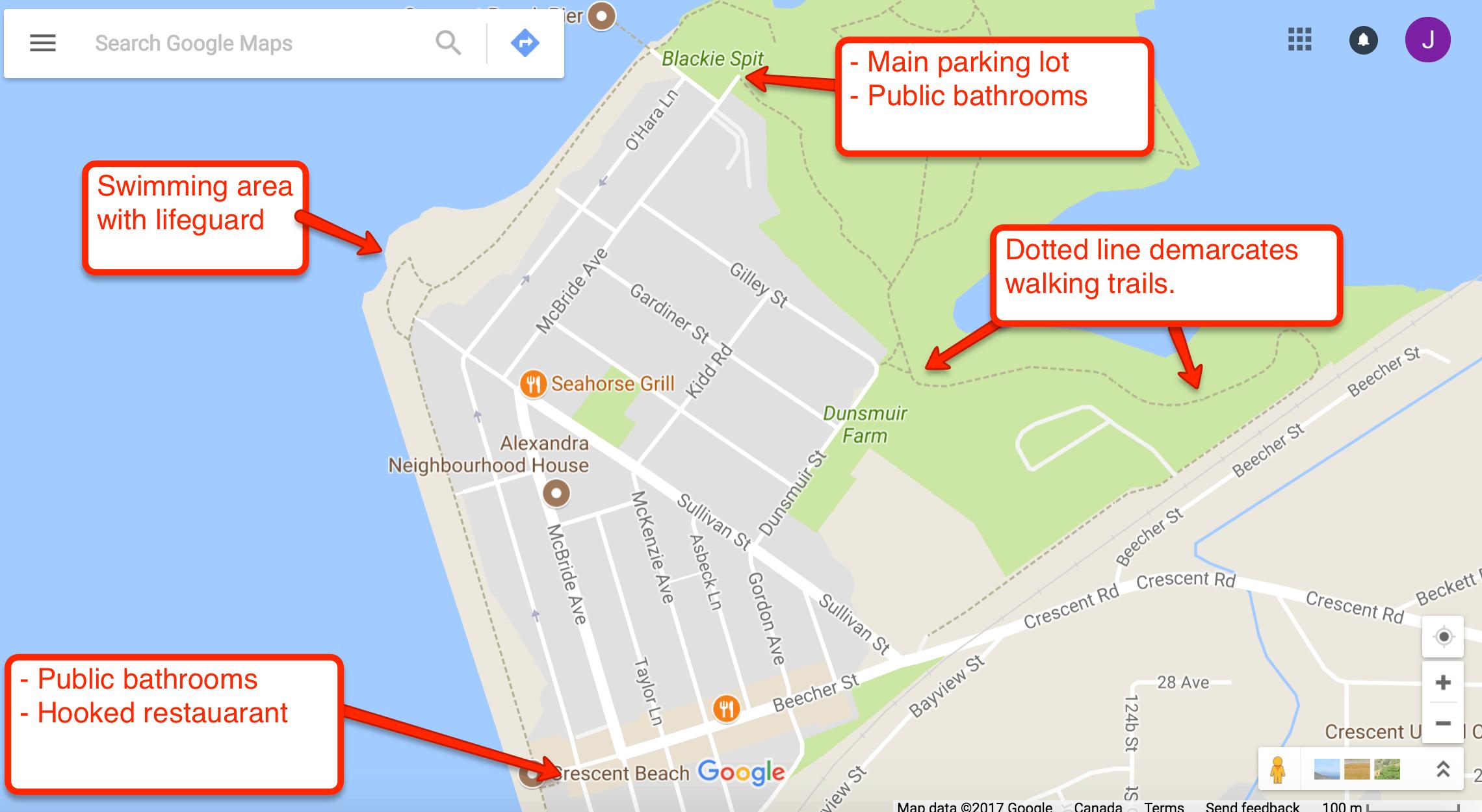 Map of Crescent Beach, BC