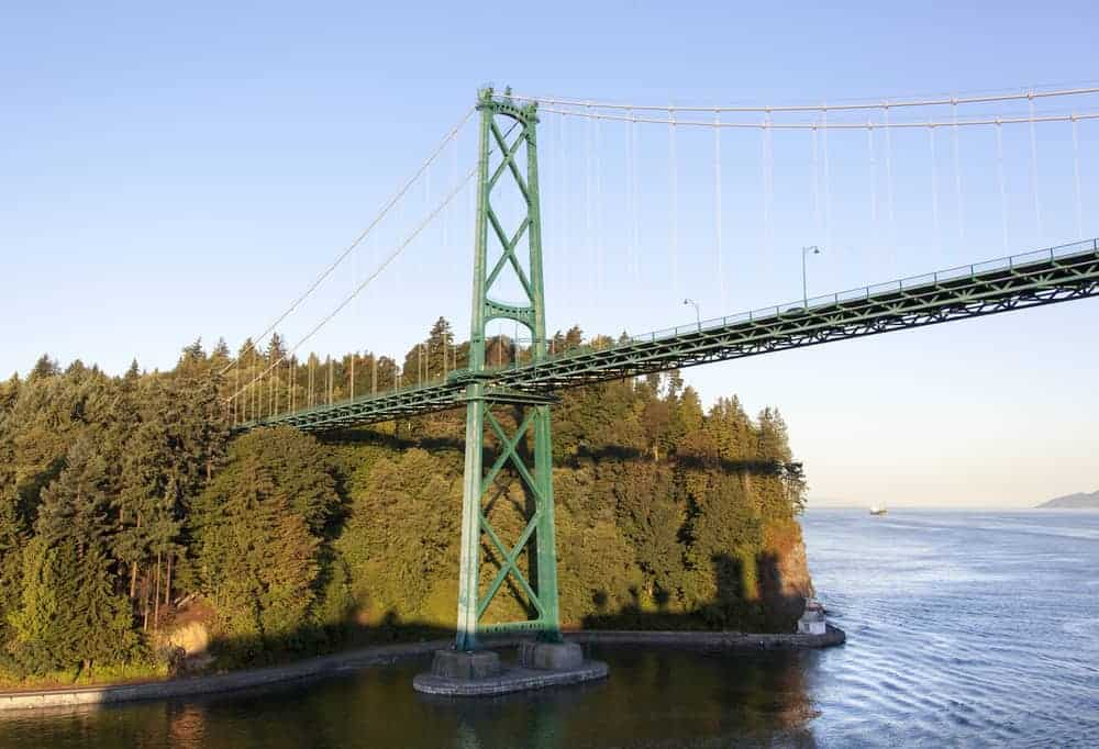 Lions Gate Bridge jutting out from Stanley Park above the Seawall