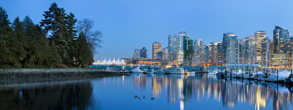Vancouver skyline and the Seawall at dusk.